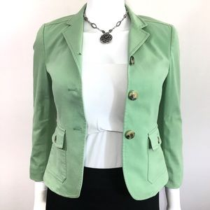 Theory Mint Green Button Front Pocket Lined Jacket